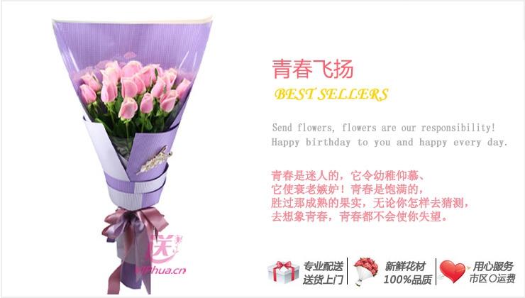 青春飞扬—快送鲜花网 粉玫瑰 全国配送送花 网上订花 送朋友 送爱人 网上订购鲜花