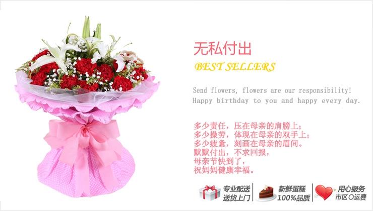 无私付出—快送鲜花网|康乃馨花束|母亲节订花|异地送鲜花|母亲节送康乃馨