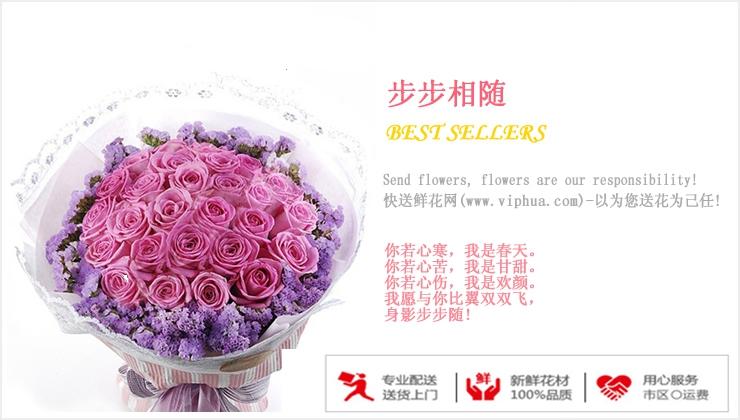 步步相随—快送鲜花网 紫玫瑰 鲜花订购 鲜花礼品店 异地订花 送花网